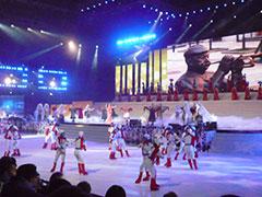 体育館での開幕式        舞台と映像,そして氷の上での演出。観客も堪能しました。