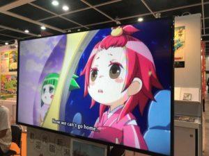 花野古町・笹団五郎のアニメを上映。 みな、足を止めて見入っていました。